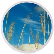 Wheat In The Sky Round Beach Towel