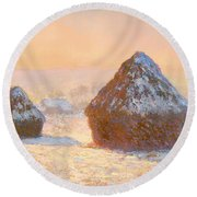Wheat Stacks - Snow Effect Morning Round Beach Towel