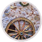 Wheel And Sun In Taromina Sicily Round Beach Towel