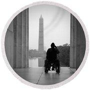 Wheelchair Vet Salute Round Beach Towel