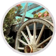 Wheels And Blooms Round Beach Towel