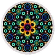 Wheels Of Light Round Beach Towel