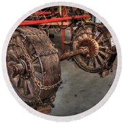 Wheels Of Old Steam Wagon Round Beach Towel