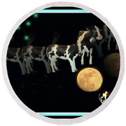 When Cows Jump Over The Moon Round Beach Towel