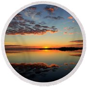 When Heaven Blankets The Earth Round Beach Towel by Karen Wiles