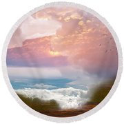 When Heaven Breaks - Surrealism Round Beach Towel