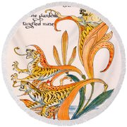 When Lilies Turned To Tiger Blaze Round Beach Towel by Walter Crane