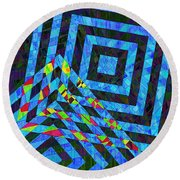 When Squares Merge Blue Round Beach Towel