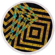 When Squares Merge Yellow Round Beach Towel