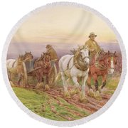 When The Days Work Is Done Round Beach Towel by Charles James Adams