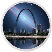 When The Galaxy Came To St. Louis Round Beach Towel