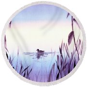 When The Sky Melts With Water A Peaceful Pond Round Beach Towel
