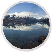 When The Sun Shines On Glacier National Park Round Beach Towel