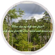 Where Does My Help Come From Round Beach Towel