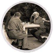 Where Is Bobby Fischer Round Beach Towel by Madeline Ellis