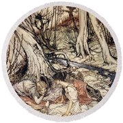 Where Often You And I Upon Fain Primrose Beds Were Wont To Lie Round Beach Towel by Arthur Rackham