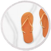 Where On Earth Is Spring - My Orange Flip Flops Are Waiting Round Beach Towel