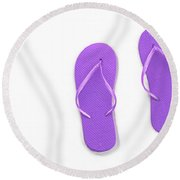 Where On Earth Is Spring - My Purple Flip Flops Are Waiting Round Beach Towel