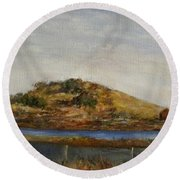 Where The Bay Meets The Hill Round Beach Towel