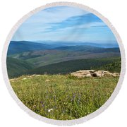 Where The Caribou Roam Near Taylor Highway-ak  Round Beach Towel