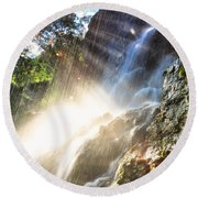 Where The Light Meets The Water Round Beach Towel