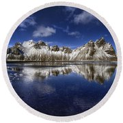 Where The Mountains Meet The Sky Round Beach Towel