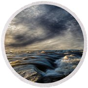 Where The River Kisses The Sea Round Beach Towel