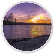 Where The Road Ends Round Beach Towel