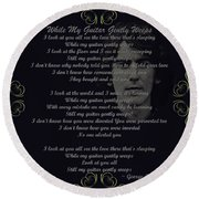 While My Guitar Gently Weeps Golden Scroll Round Beach Towel