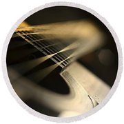 While My Guitar Gently Weeps Round Beach Towel by Laura Fasulo