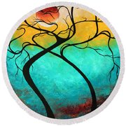 Whimsical Abstract Tree Landscape With Moon Twisting Love IIi By Megan Duncanson Round Beach Towel