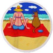 Whimsical Beach Seashore Woman And Dog Round Beach Towel