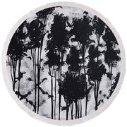 Whimsical Black And White Landscape Original Painting Decorative Contemporary Art By Madart Studios Round Beach Towel