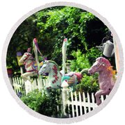 Whimsical Carousel Horse Fence Round Beach Towel