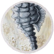 Whimsical Coastal Art Original Sea Horse Painting Sea Fantasy By Megan Round Beach Towel