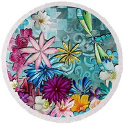 Whimsical Floral Flowers Dragonfly Art Colorful Uplifting Painting By Megan Duncanson Round Beach Towel
