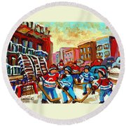 Whimsical Hockey Art Snow Day In Montreal Winter Urban Landscape City Scene Painting Carole Spandau Round Beach Towel by Carole Spandau