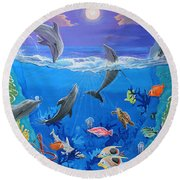 Whimsical Original Painting Undersea World Tropical Sea Life Art By Madart Round Beach Towel