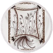 Whimsical Window Round Beach Towel
