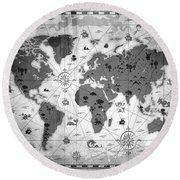 Whimsical World Map Bw Round Beach Towel