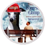 Whippet Art - Forrest Gump Movie Poster Round Beach Towel