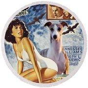 Whippet Art - Suddenly Last Summer Movie Poster Round Beach Towel