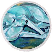 Whippet-effects Of Gravity-3 Round Beach Towel