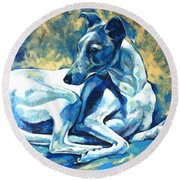Whippet-effects Of Gravity 5 Round Beach Towel