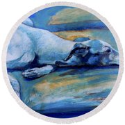 Whippet-effects Of Gravity-6 Round Beach Towel