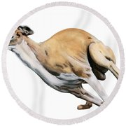 Whippet In The Wind Round Beach Towel