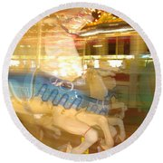 Whirling Carousel Round Beach Towel