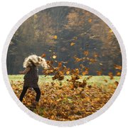 Whirling With Leaves Round Beach Towel