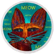 Whiskers Meowing Round Beach Towel