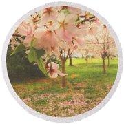 Whispering Cherry Blossoms Round Beach Towel